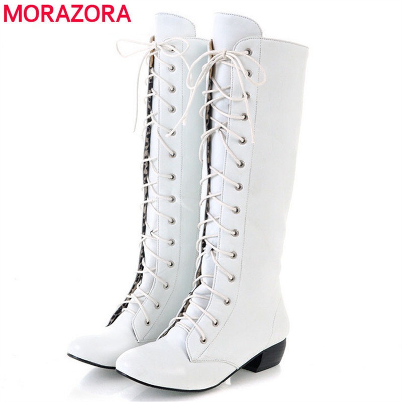 MORAZORA 2018 New fashion knee high boots lace-up sexy low heels comfortable high quality autumn women boots white black pink marsnaska fashion new high quality white