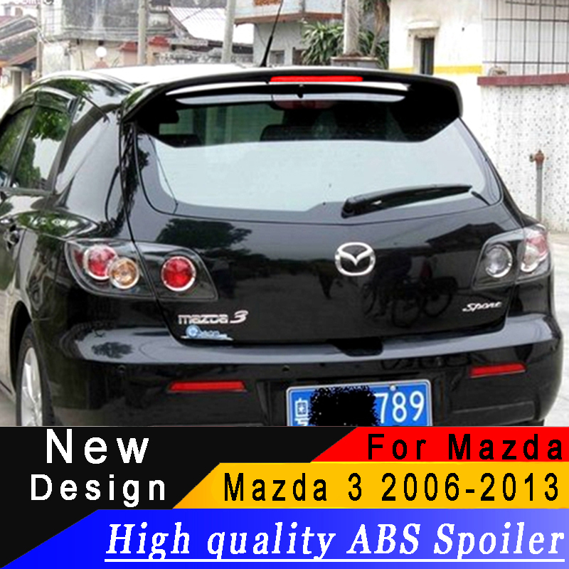 High quality ABS spoiler For Mazda 3 M3 Hatchback 2006 to 2013 Rear wing primer or black or white spoiler