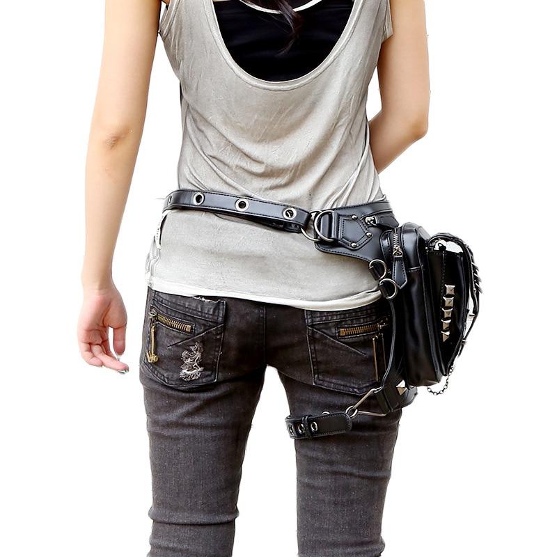 Högkvalitativa kvinnor PU läder droppe ben väska punk rock väska - Bälten väskor - Foto 6