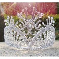 Free shipping large custom tiara tall pageant Queen tiara Rhinestone bridal tiara silver party girl's decoration crown tiara