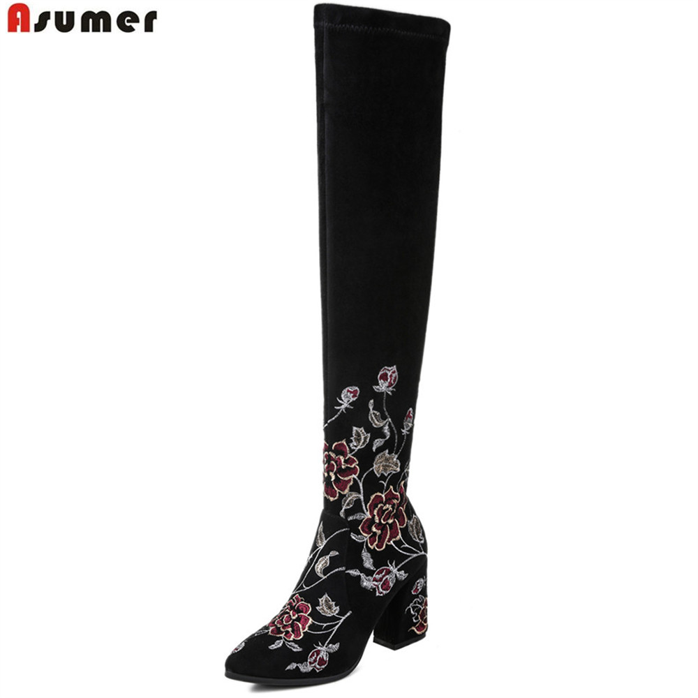 ASUMER fashion new women boots square heel black cow suede ladies boots pointed toe zipper square heel over the knee asumer fashion new women boots round toe zipper ladies genuine leather boots square heel keep warm cow leather mid calf boots