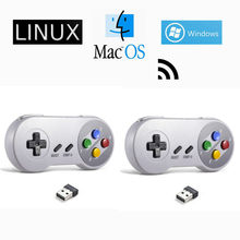 2 pacote sem fio usb controlador jogo joystick para snes almofada de jogo para windows pc mac computador framboesa pi sega genesis emulador