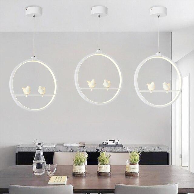 לבן/שחור תליון אורות מקורה מרפסת לופט בית תליית תאורה מודרני מטבח סלון אמנות ציפורים LED תליון מנורות