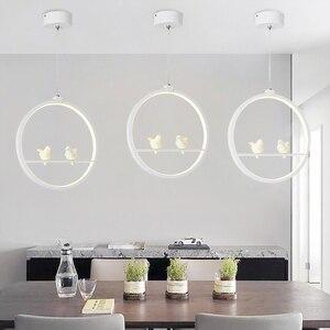 Image 1 - Biały/czarny wisiorek światła kryty balkon Loft Home oświetlenie wiszące nowoczesna kuchnia salon sztuki ptaki lampy wiszące LED