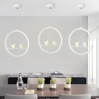 White/Black Pendant Lights Indoor Balcony Loft Home Hanging Lighting Modern Kitchen Parlor Art Birds LED Pendant Lamps