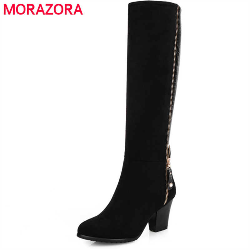 MORAZORA Kid suede knee high boots for women autumn winter long boots fashion punk womens boots black zip large size 34-45 memunia 2017 autumn new arrive long boots for women solid zip knee high boots large size 34 43 fashion high heels boots