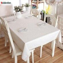 Toalla moderna de lino de algodón de encaje blanco mesa de comedor banquete café mantel se puede lavar 37 yardas opcional