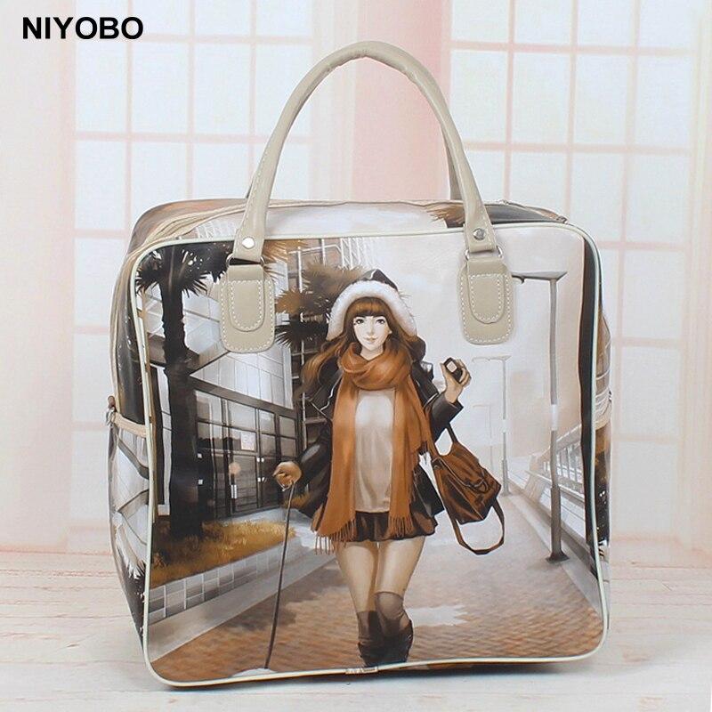 2018 New Waterproof Women Travel Bag PU Leather Women Tote Bag Travel Duffel Bag Cartoon Print Lady Luggage Bag PT974