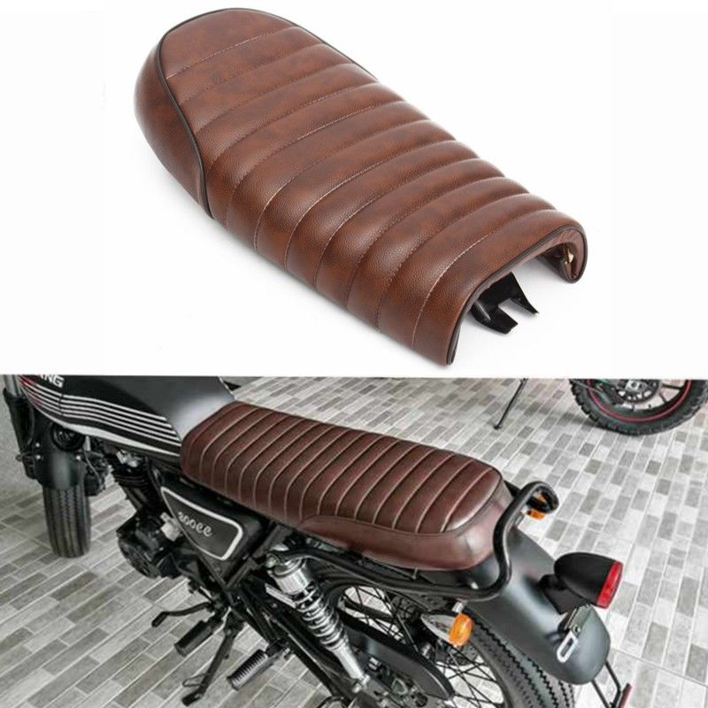 Brown Motorcycle Flat Brat Styling Vintage Saddle Cafe Racer Seat For Honda Brown CB200 CB350 CB400