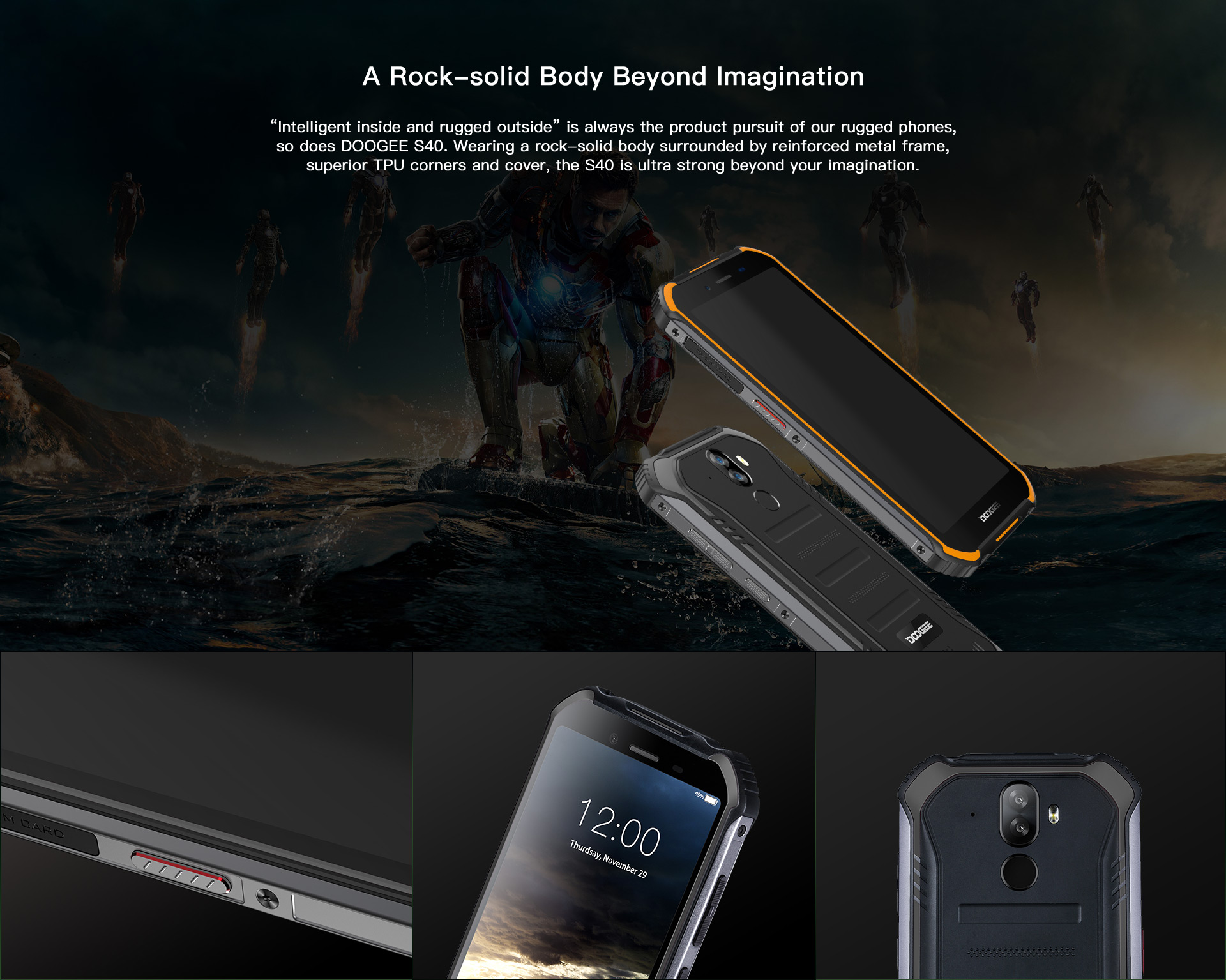 "HTB1d77OMYvpK1RjSZFqq6AXUVXaR Upgrade 3GB+32GB DOOGEE S40 5.5""HD 4G network  Mobile Phone IP68 Waterproof 4650mAh 8MP MT6739 Android 9.0 Pie Smartphone"