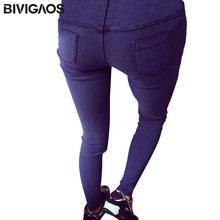 BIVIGAOS 2017 Spring New Fashion Skinny Slim Thin High Elastic Waist Washed Jeans Jeggings Pencil Pants Denim Leggings For Women