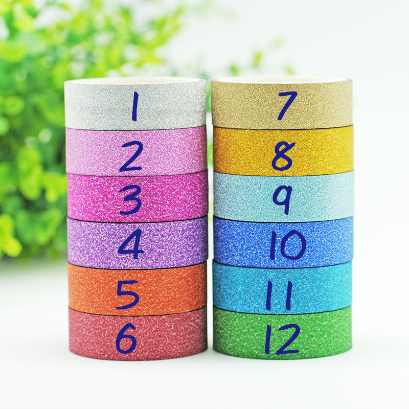 1PCS 1.5CM*3M Glitter Washi Tape Sticker Paper Masking Adhesive Office School Tape Label Craft For DIY Decorative Tape JD23