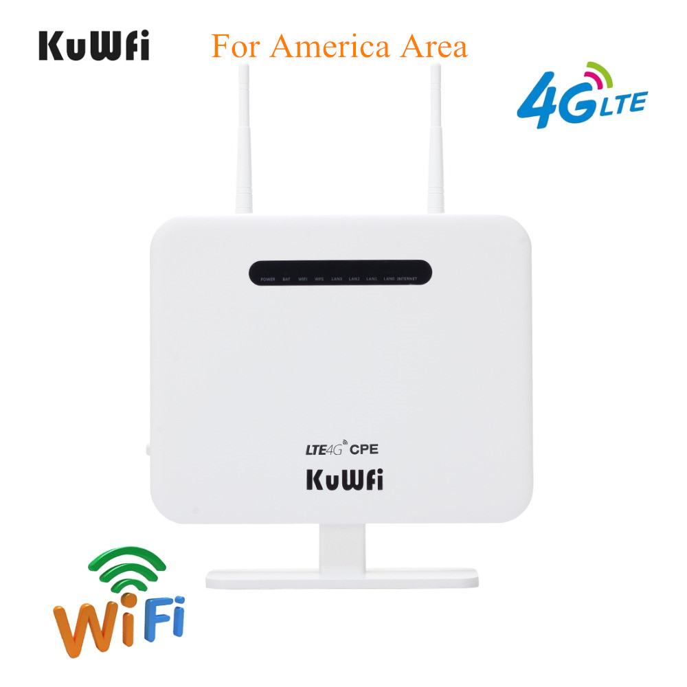 KuWFi Unlocked 300Mbps 4G CPE Router Wireless AP Router With 5Dbi Antennas For USA CA Mexico