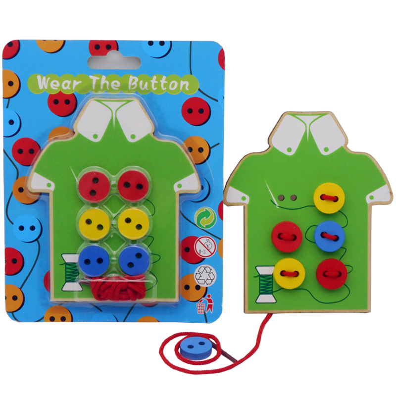 Montessori Educational Toys Children Beads Lacing Board Wooden Toy Toddler Sew On Buttons Early Education Toys For Children GIft