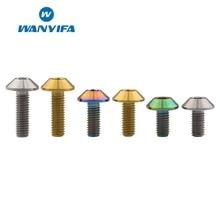 Wanyifa M6x12 15 20mm Umbrella Head Titanium Bolt Screw for Bicycle Disc Brake Gold Rainbow 3 Color