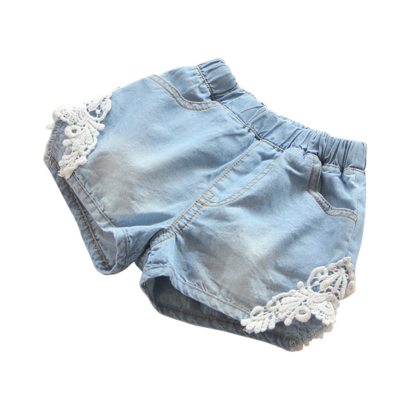 2021 Hot Summer Fashion Beauty Children Little Baby Kids Lace Edges Jeans Girls Denim Blue Shorts For 2 3 4 6 8 10 12 Years Old 7