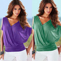 Fashion Women's Backless Open Shoulder V-Neck Plunge Batwing Sleeve Shirred Waist Sexy Solid Slim Plus Size Tops  CL3050