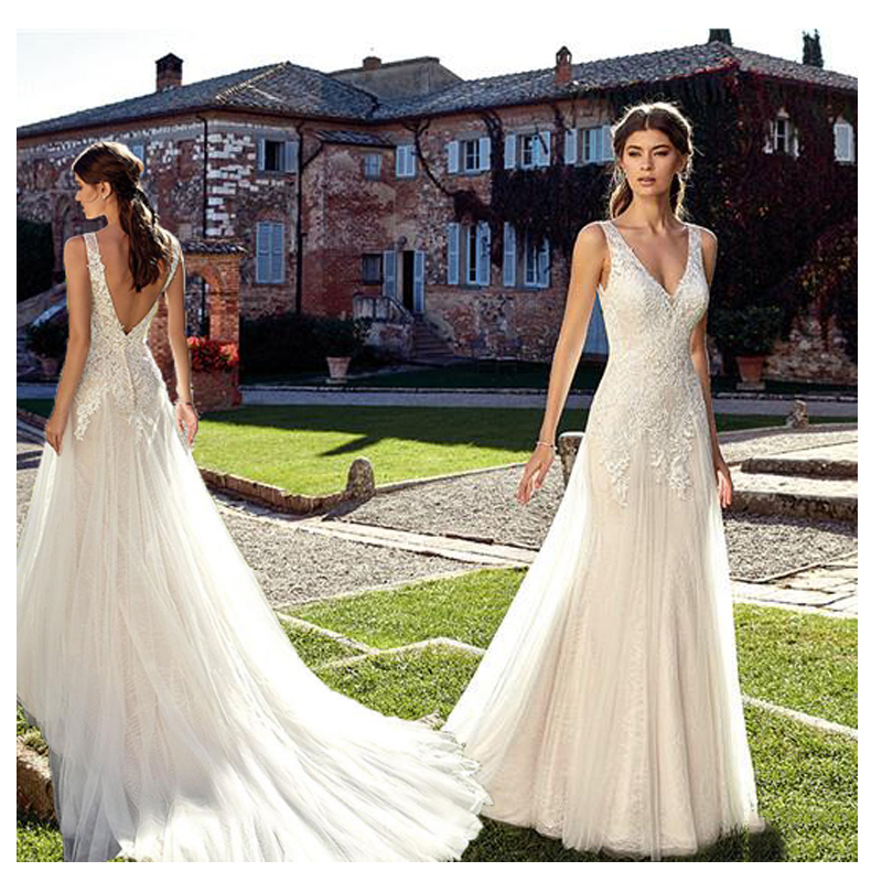 Double Shoulder V Neck Ivory Wedding Dresses 2019 White A line Floor Length Train Illusion bridal