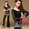 New 2017 Cheap Belly Dance Set Cropped Top Pants Belt Scarf Belly Dancing Clothes Oriental Tribal Egyptian Belly Dance Costumes