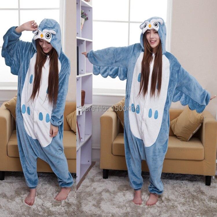 Animal Onesie Costume Owl მოზრდილ ქალთა მამაკაცის პიჯაკების ჰელოუინის საშობაო წვეულების კოსტუმების კოსტუმები