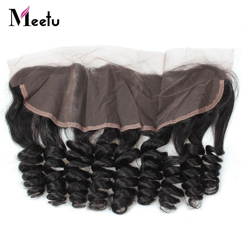 Meetu Hair Peruvian Loose Wave 13*4 Lace Frontal Free Part Non Remy Human Hair Closure 130% Density 8-20 Natural Black