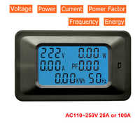 Digital Voltmeter Ammeter AC 110V 220V 20A/100A AC Current Voltage Meter Watt kWh Monitor Power Factor Frequency Energy Meter