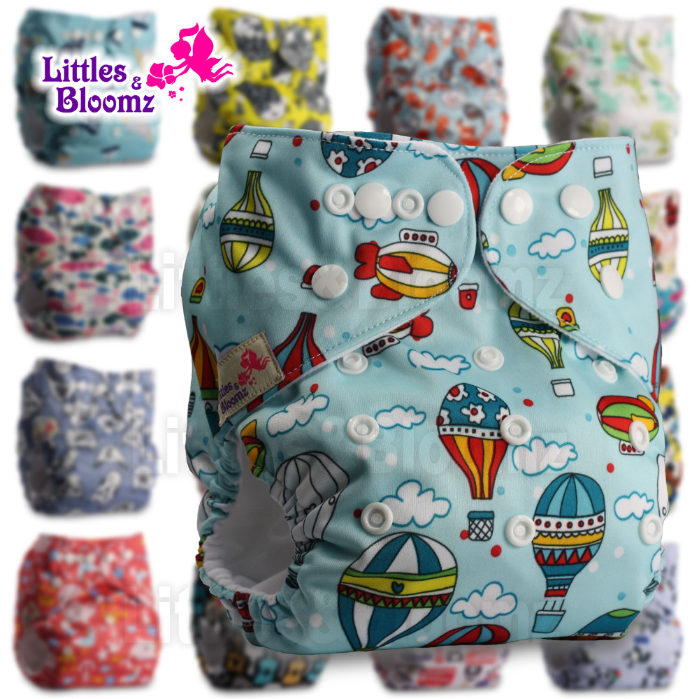 Reusable Pocket Real Cloth Nappy Washable Diaper Bamboo Charcoal Pattern 24 Littles /& Bloomz Without Insert