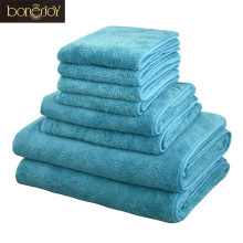 Bonenjoy 8pcs Microfiber Bath Towel Set Softness Quick Dry Hair Toallas Blue Face Hand Towel Set