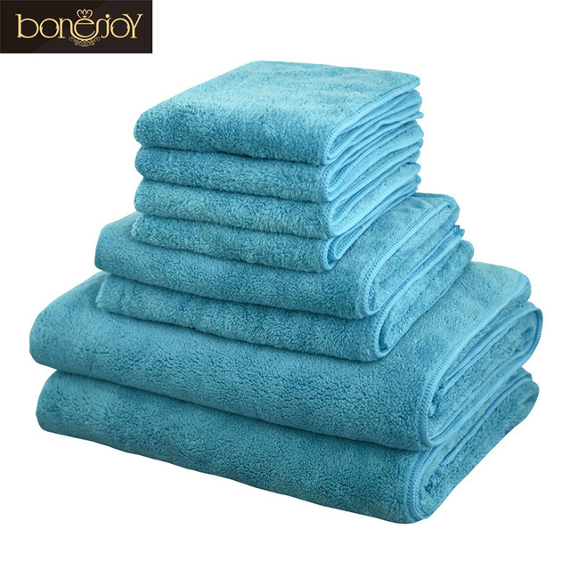 Bonenjoy 8pcs Microfiber Bath Towel Sets Softness Quick Dry Hair Toallas Blue Face Hand Towel Set