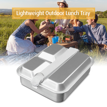 Outdoor Lunch Tray Divided Food Container Tableware Lightweight Aluminum Box 2-IN-1 Bento