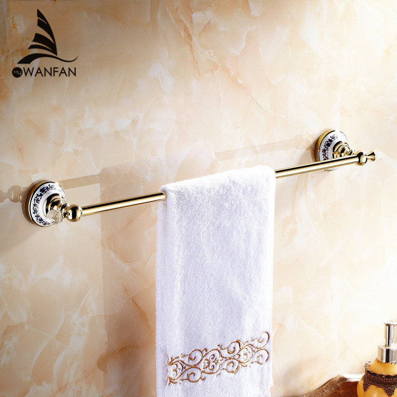 все цены на Towel Bars European Style Golden Crystal Solid Brass Towel Rail Single Towel Bar Bathroom Towel Holder Bathroom Accessories 6301