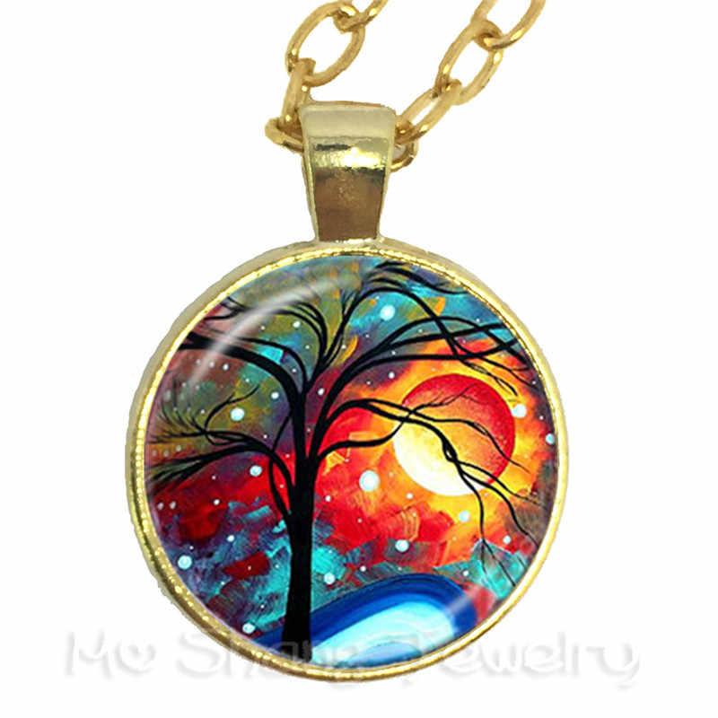 Дерево жизни бабочки картина модное ожерелье время ювелирные изделия из стекла свитер цепи стеклянные украшения подарок для друзей