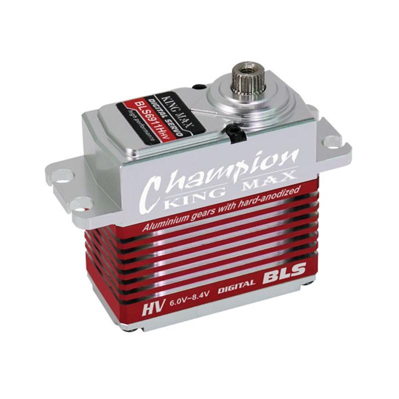 цена на KINGMAX BLS6911HHV 69g 11kg.cm digital metal gear standard HV servo brushless motor waterproof full CNC case for RC 700 heli