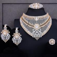 طقم مجوهرات مكون من 4 قطع فاخر من GODKI أطقم مجوهرات للسيدات من الزركونيا الكريستالي الزركونيوم مجوهرات الزفاف الهندية والأفريقية