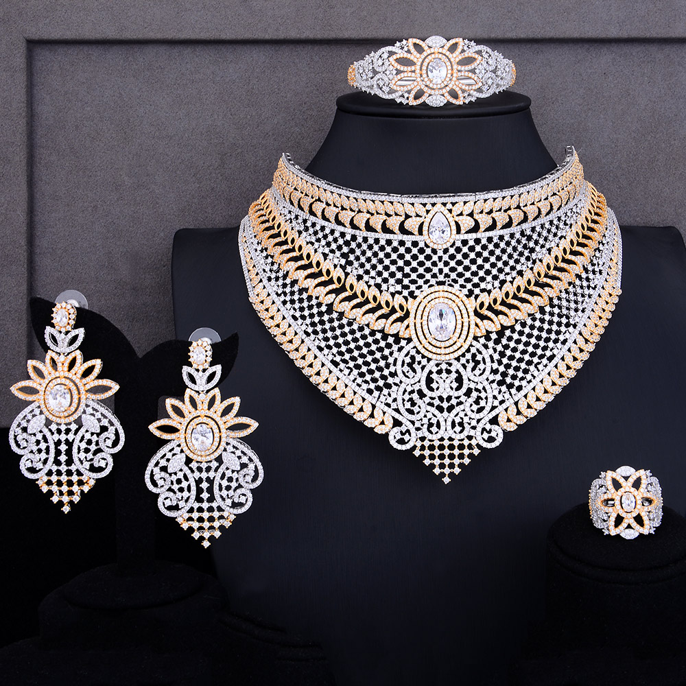 GODKI Luxury 4PCS Nigerian Choker Necklace Jewelry Sets For Women Wedding Zirconia Crystal CZ Indian African Bridal Jewelry SetsGODKI Luxury 4PCS Nigerian Choker Necklace Jewelry Sets For Women Wedding Zirconia Crystal CZ Indian African Bridal Jewelry Sets