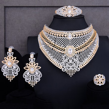 GODKI Luxury 4PCS Nigerian Choker Necklace Jewelry Sets For Women Wedding Zirconia Crystal CZ Indian African Bridal Jewelry Sets