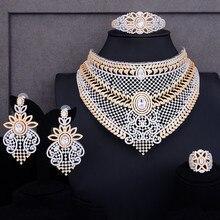GODKI gargantilla nigeriana de lujo para mujer, juegos de joyas para mujer, juegos de joyas para boda, cristal de Circonia cúbica, juegos de joyería nupcial de estilo africano indio, 4 Uds.