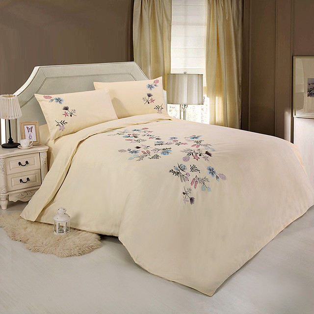 Cotton Embroidered Design Hypoallergenic Protects Against Dust Mites And  Allergens(1 Duvet Cover+1Bed