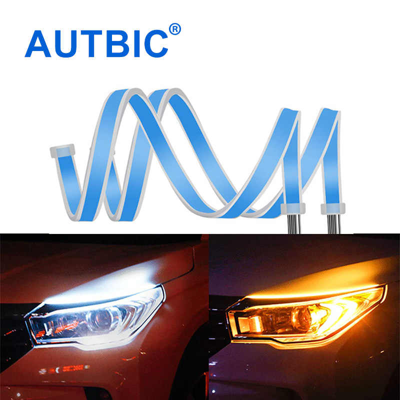 AUTBIC Turn Signal DRL LED Daytime Running Lights Flexible Auto LED Strip 12V Car Styling Accessories