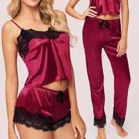 3 pièces Satin Pyjama Ensembles Sans Manches Femmes Vêtements De Nuit Pyjama Fille D'été Dentelle grande taille décontracté Femme Mariage Maison robe de nuit Sommeil