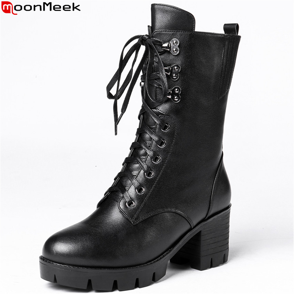 MoonMeek fashion women boots round toe zipper genuine leather boots cross tied square heel platform cow leathe ankle boots memunia fashion women boots round toe genuine leather boots zipper square heel wool keep warm cow leather mid calf boots