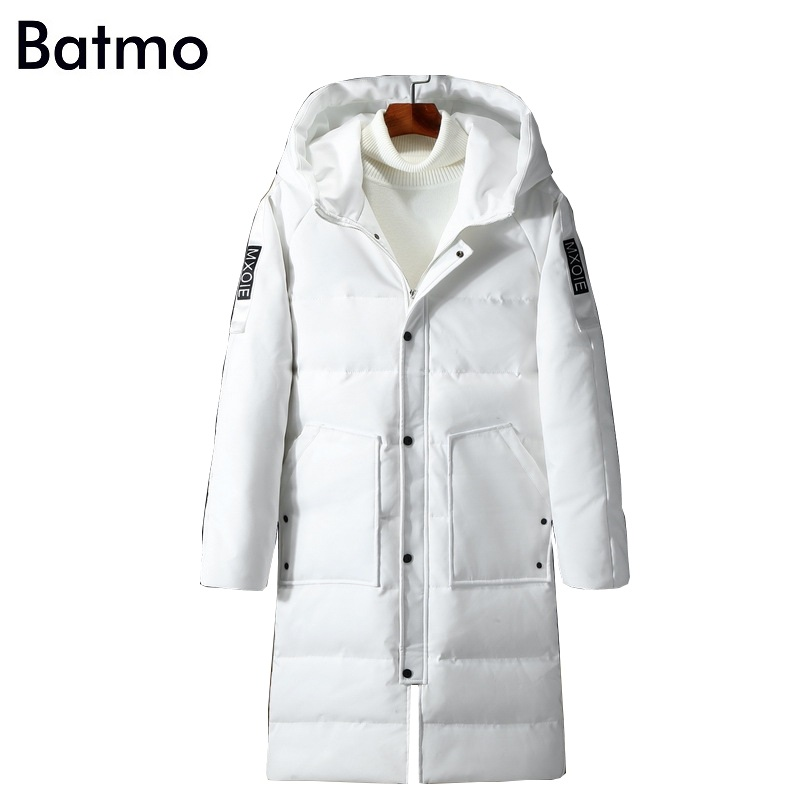 Batmo 2017 new arrival winter high quality keep warm 90% white duck down long hooded jakcet men,white winter coat men,YR12