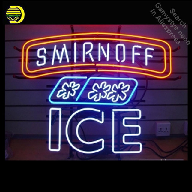 NEON SIGN For Smirnoff ICE REAL GLASS Tube Store Handcraft Art Beer Bar Shop Room Light Signs advertise lamp personalized neon
