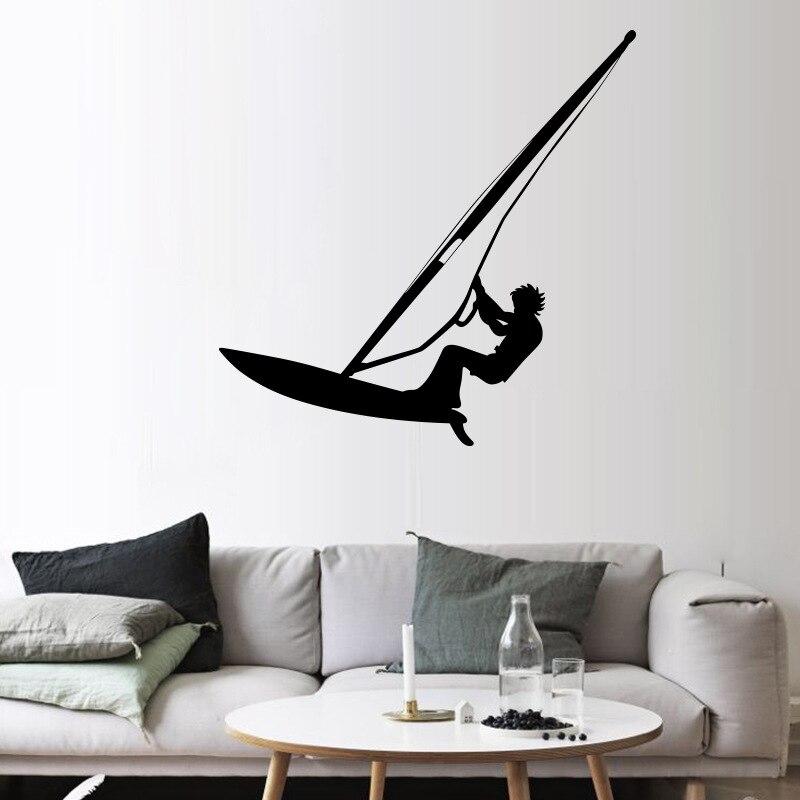 Adesivi Murali Ragazzi.Us 11 15 Surf Windsurf Stanza Adesivi Murali Ragazzi Adolescenti Amante Home Decor Carta Da Parati Manifesto Acqua Sfida Giocatore Di Sport Applique