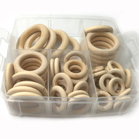 25mm 55mm 0 98 2 16 Nature Wooden Ring Set Teether Montessori Baby Toy Organic Infant