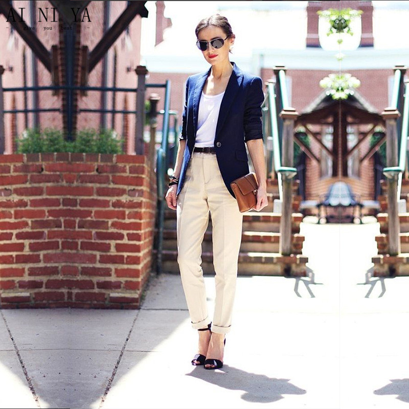 Us 89 1 10 Off Custom Navy Blue Jacket Khaki Pants Women Business Suits Formal Office Suits Work Blazer Female Trouser Elegant Pant Suits In Pant