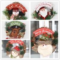H D 2017 Christmas Wreaths Door Hanging Snowman Rattan Ring Garland Xmas Decoration Christmas Decoration For