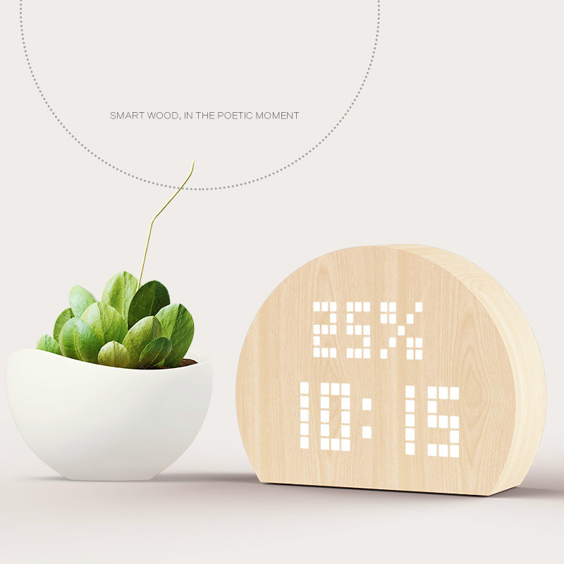 Nordic retro creative wooden electronic alarm clock LED wake up light clock