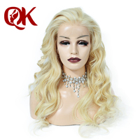 QueenKing hair 180% Density European Human Remy Hair Front Lace Wigs Blonde 613 Wavy Free Overnight Shipping Wigs for Women