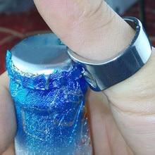 лучшая цена 1PCS Stainless Steel Metal Chrome Finger Thumb Keyring Finger Ring Beer Bottle Opener Party Beer Bar Tool C0528